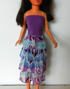 Purple Top Dress or Skirt with Purp & Turq Ruffles - cotton knit body, chiffon ruffles, elastic above bust, pulls on over feet $12.99