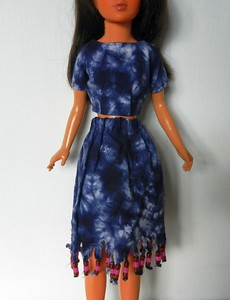 Blue Tie Dye Midriff Top & Skirt with Bead Fringe - woven cotton, top has Velcro in back, skirt has elastic, Bead fringe is a little shaggy, but fun, this is one of my favorites $12.99