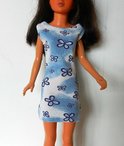 Blue  with Purple Butterflies Dress - shift type, cotton knit, pulls on over feet, snaps at both shoulders $9.99