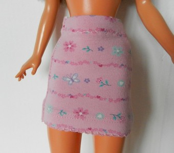 TT Pink Flower Stripe Knit Mini Skirt & Tank Top skirt front