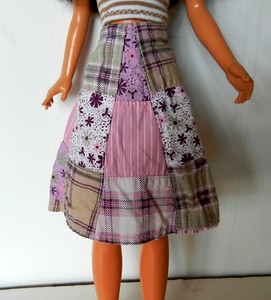 TT Pink & Tan Patchwork Wrap Skirt w Tan & White Stripe Strapless Top skirt front