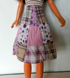 TT Pink & Tan Patchwork Wrap Skirt w Tan & White Stripe Strapless Top skirt front