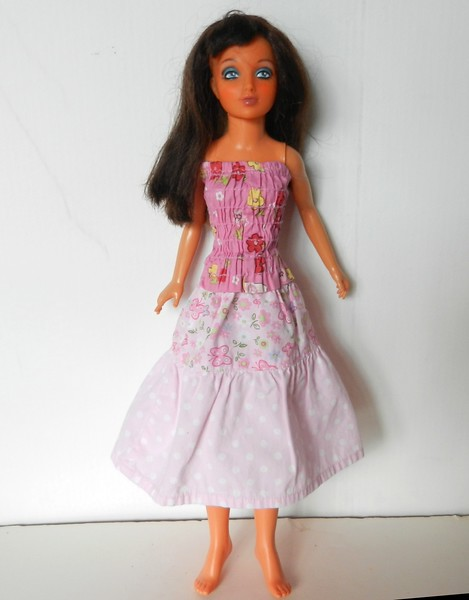 TT Pink Flower Print Shirred Strapless Top & Pink Print 3-Tier Skirt full