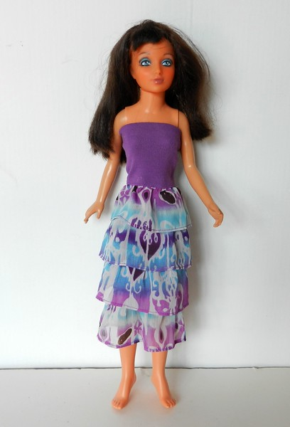 TT Purple Top Dress or Skirt w Purp & Turq Ruffles full