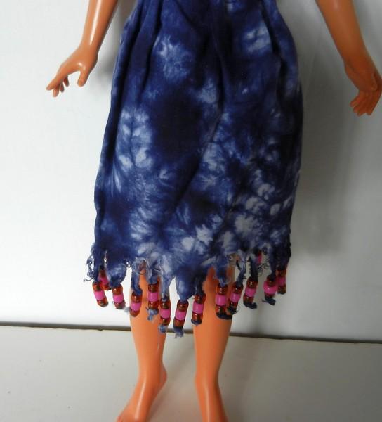 TT Blue Tie Dye Midriff Top & Skirt w Bead Fringe fringe detail