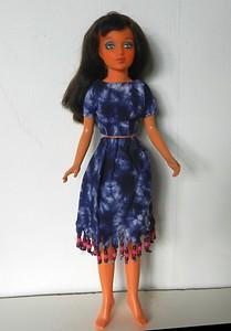 TT Blue Tie Dye Midriff Top & Skirt w Bead Fringe full