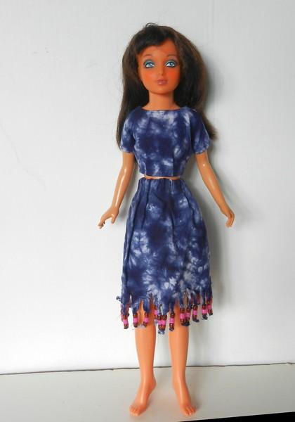 TT Blue Tie Dye Midriff Top & Skirt w Bead Fringe full 2