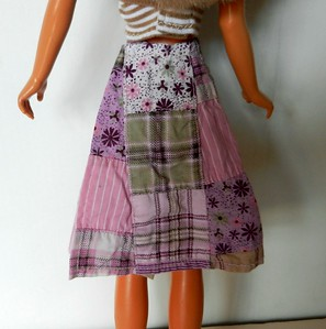 TT Pink & Tan Patchwork Wrap Skirt w Tan & White Stripe Strapless Top skirt back