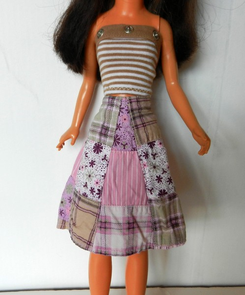 Pink & Tan Patchwork Wrap Skirt - woven cotton patches, A-line, wraps and closes in back at waist with Velcro $7.99  White Stripe Strapless Top - cotton knit, used half snaps for decor, Velcro in back, needle snagged a thread while hemming $4.99