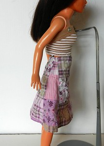 TT Pink & Tan Patchwork Wrap Skirt w Tan & White Stripe Strapless Top other side