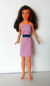 TT Fuchsia & White Stripe Strapless w Navy Belt full