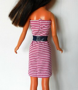 TT Fuchsia & White Stripe Strapless w Navy Belt back