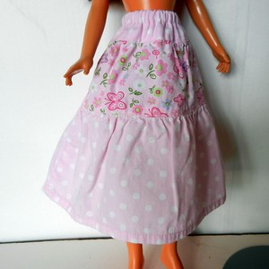 Pink Print 3-Tier Skirt - woven cotton, elastic waist, 2 seams go to side backs $7.99