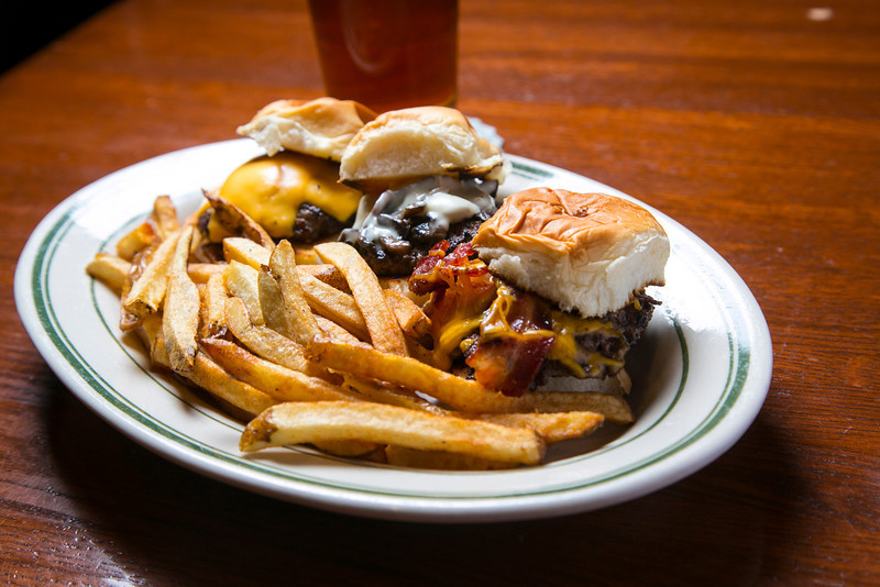 Excelsior, MN - SLP 0912 ParkTavern - The three burger sampler at the Park Tavern features a bacon cheese burger, a swiss mushroom cheese burger and an American Cheese cheeseburger. Photo by © Todd Buchanan 2012 Technical Questions: todd@toddbuchanan.com;