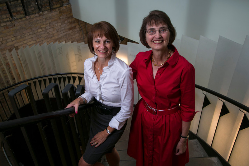 """Chaska, MN - SWM 0912 Authors- Tiger Oak - Co-Authors Mary Donlon and Mary Rausch at the Loft Literary Center where they are preparing to have their new book """"Headaches can be murder"""". They got to know each other at the Loft. Photo by © Todd Buchanan 2012 Technical Questions: todd@toddbuchanan.com;"""