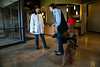 Minnetonka, MN - LKM3275 - Shady Oak Vet Remodel - Dr. Barb Leppke, veterinarian and clinic owner, greets Mary Beth Rimmington and her tow dogs, Reggie and Rosa in her newly remodeled clinic here today, Tuesday October 8, 2013. Photo by © Todd Buchanan 2013 Technical Questions: todd@toddbuchanan.com; Phone: 612-226-5154.