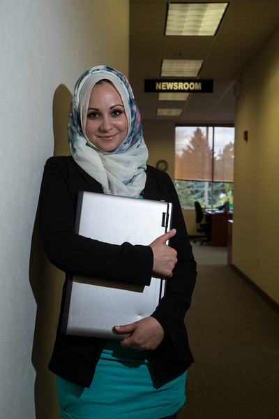 Plymouth, MN -MGM 1112 - Mnar Muhawesh started Mintpress.com as an web-based independant news organization. She is pictured in the newsroom here today, Monday September 17, 2012.  Date: Monday September 17, 2012 Photo by © Todd Buchanan 2012 Technical Questions: todd@toddbuchanan.com; Phone: 612-226-5154.