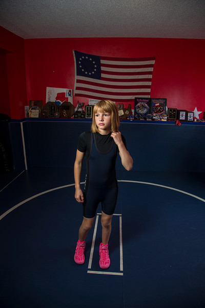 Maple Grove, MN - MGM 1112 - Wrestler Emily Schilson is competing in wrestling tournaments for girls and has won many top titles and is competing on the national level here today, Tuesday September 18, 2012.  Date: Tuesday September 18, 2012 Photo by © Todd Buchanan 2012 Technical Questions: todd@toddbuchanan.com; Phone: 612-226-5154.