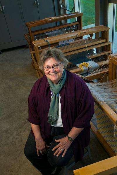 Minnetonka, MN - MTK 1212 - Minnetonka Center for the Arts Fiber Artist Traudi Bestler at the arts center.  Date: Wednesday October 24, 2012 Photo by © Todd Buchanan 2012 Technical Questions: todd@toddbuchanan.com; Phone: 612-226-5154.