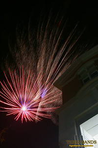 Fireworks over Julian Center at DePauw University