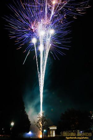 Fireworks over Green Center at DePauw University