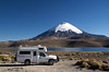 We camped by this lake at 15,000 feet, the mountain behind is almost 21,000; northern Chile