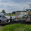 Small ferry crossing the Elbe in eastern Germany