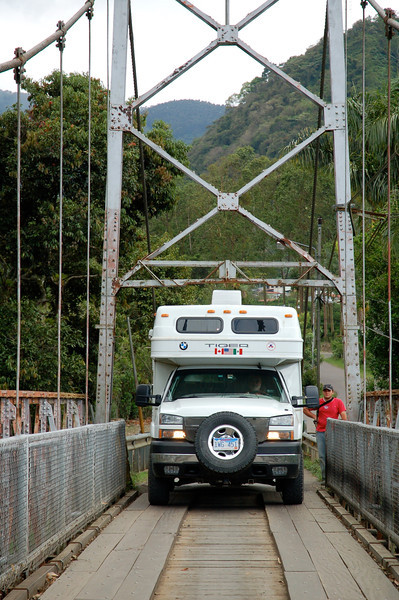 We measured the clearance on this bridge before crossing; Costa Rica