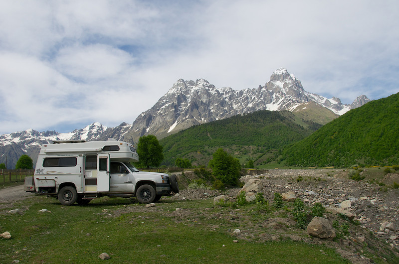La Tortuga visits the Caucasus Mountains in the Republic of Georgia, with Russia just over the ridge behind.