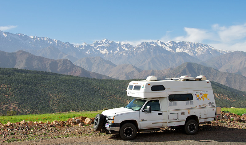Snow on the Atlas mountains; <br /> we spent the night parked right here