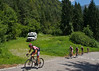 Morning cyclists in the Dolomites of northern Italy