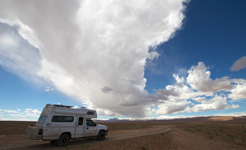 Fantastic clouds with snow in the background near Tinerhir, Morocco