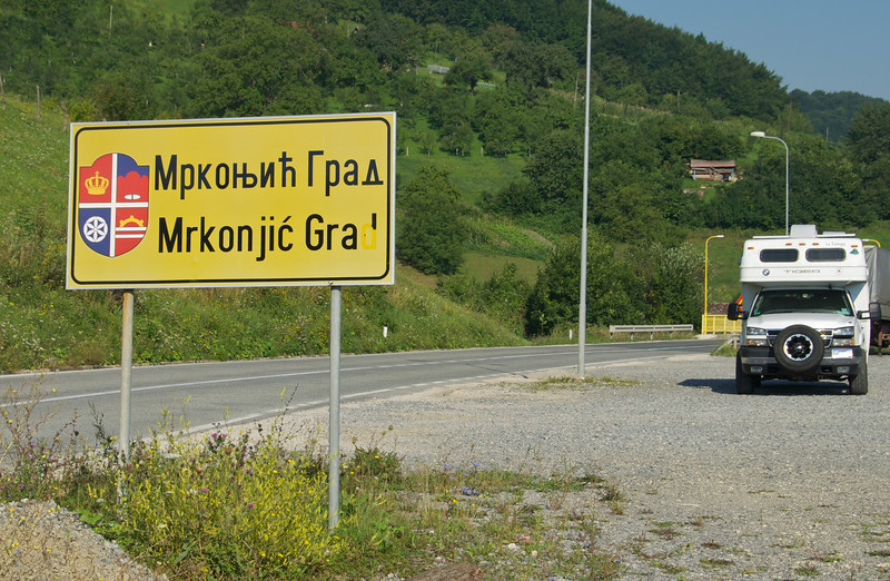 A roadsign that could be anywhere in the Balkans; this one happens to be in Bosnia