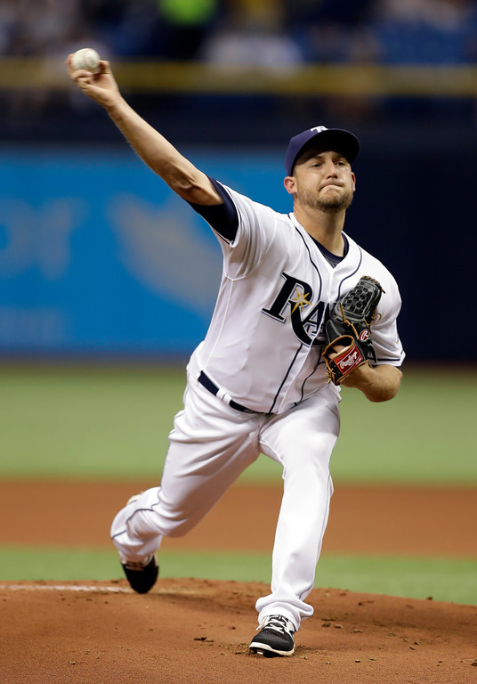 . Tampa Bay Rays\' Matt Andriese pitches to the Detroit Tigers during the first inning of a baseball game Tuesday, April 18, 2017, in St. Petersburg, Fla. (AP Photo/Chris O\'Meara)