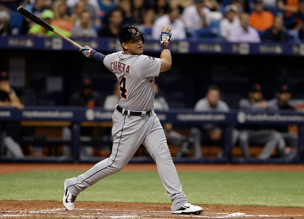 . Detroit Tigers\' Miguel Cabrera bats against the Tampa Bay Rays during the third inning of a baseball game Tuesday, April 18, 2017, in St. Petersburg, Fla. (AP Photo/Chris O\'Meara)
