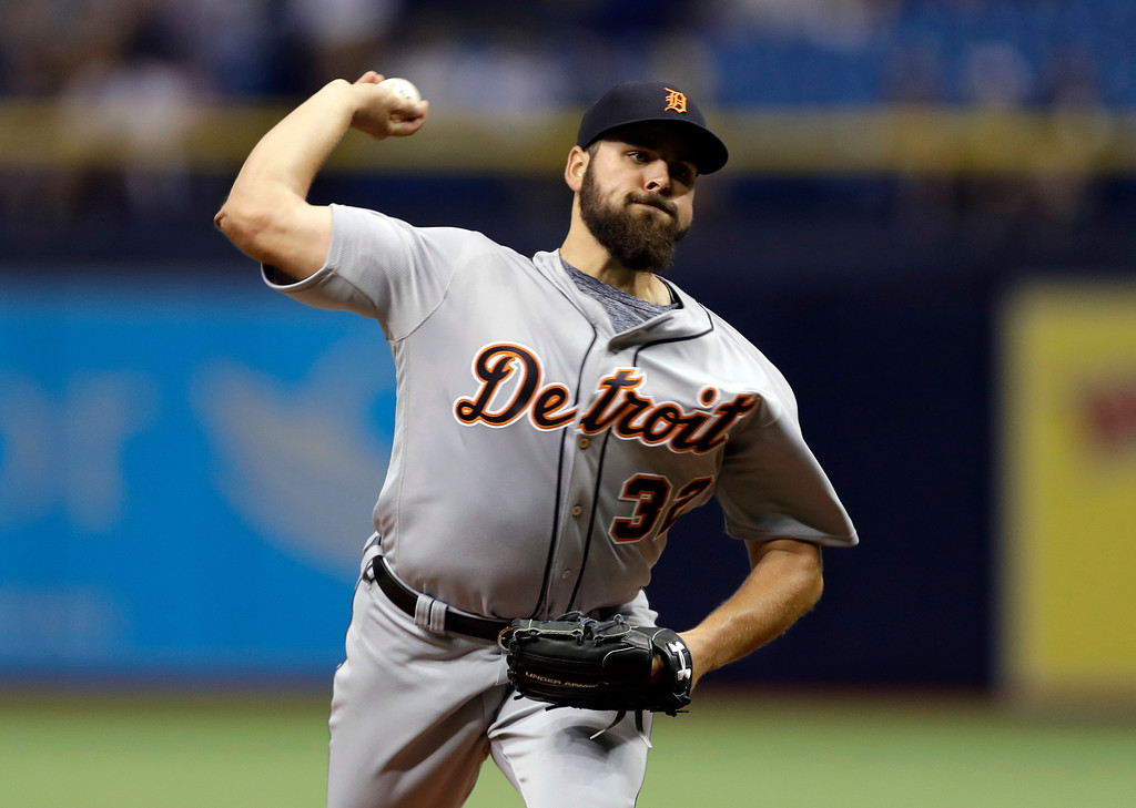 . Detroit Tigers starting pitcher Michael Fulmer delivers to the Tampa Bay Rays during the first inning of a baseball game Tuesday, April 18, 2017, in St. Petersburg, Fla. (AP Photo/Chris O\'Meara)