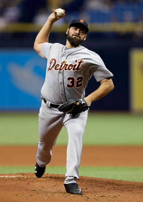 . Detroit Tigers\' Michael Fulmer pitches to the Tampa Bay Rays during the first inning of a baseball game Tuesday, April 18, 2017, in St. Petersburg, Fla. (AP Photo/Chris O\'Meara)