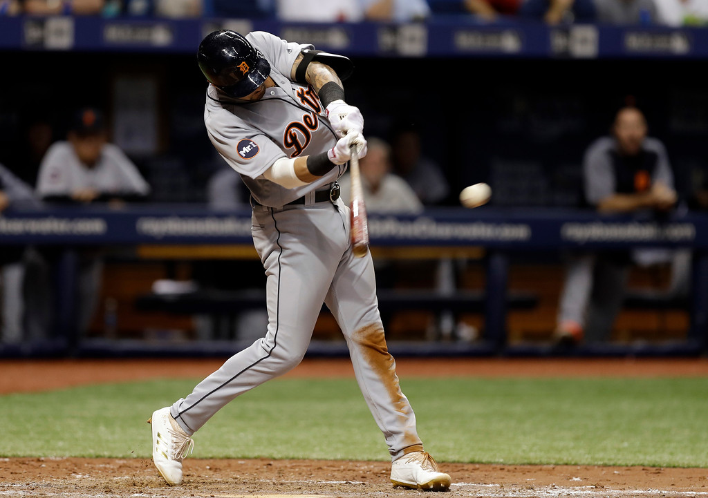 . Detroit Tigers\' Nicholas Castellanos connects for a three-run triple off Tampa Bay Rays relief pitcher Jumbo Diaz during the sixth inning of a baseball game Wednesday, April 19, 2017, in St. Petersburg, Fla. (AP Photo/Chris O\'Meara)
