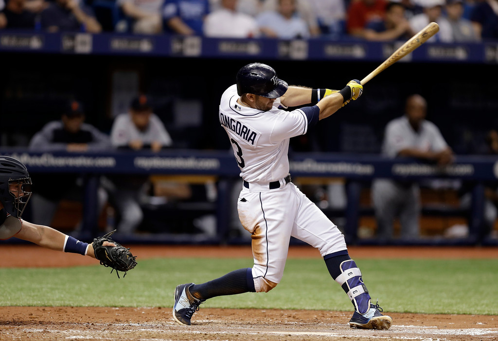 . Tampa Bay Rays\' Evan Longoria lines a two-run single off Detroit Tigers starting pitcher Jordan Zimmermann during the fourth inning of a baseball game Wednesday, April 19, 2017, in St. Petersburg, Fla.(AP Photo/Chris O\'Meara)