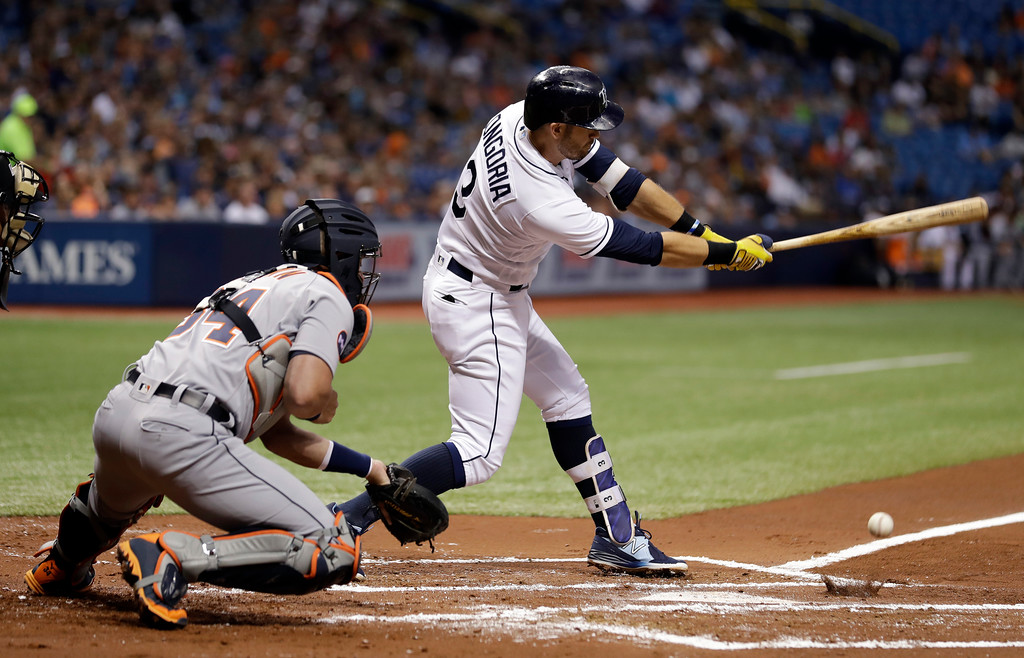. Tampa Bay Rays\' Evan Longoria (3) connects for an RBI single off Detroit Tigers starting pitcher Jordan Zimmermann during the first inning of a baseball game Wednesday, April 19, 2017, in St. Petersburg, Fla. Rays\' Corey Dickerson scored on the hit. Catching for the Tigers is James McCann. (AP Photo/Chris O\'Meara)
