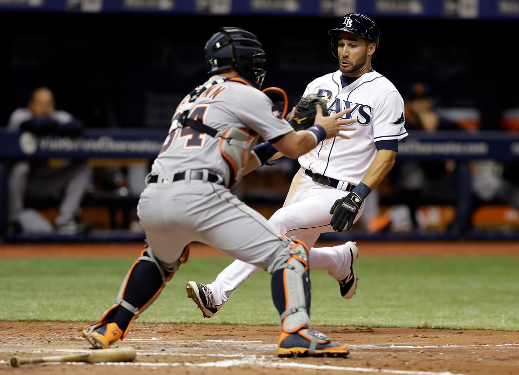 . Tampa Bay Rays\' Kevin Kiermaier scores ahead of the tag by Detroit Tigers catcher James McCann on a two-run single by Tampa Bay Rays during the fourth inning of a baseball game Wednesday, April 19, 2017, in St. Petersburg, Fla. (AP Photo/Chris O\'Meara)