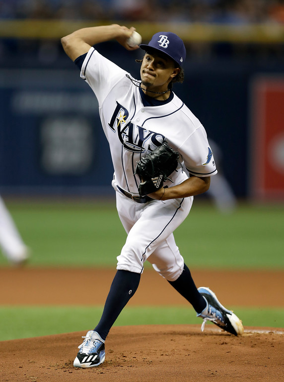. Tampa Bay Rays starting pitcher Chris Archer delivers to the Detroit Tigers during the first inning of a baseball game Wednesday, April 19, 2017, in St. Petersburg, Fla. (AP Photo/Chris O\'Meara)