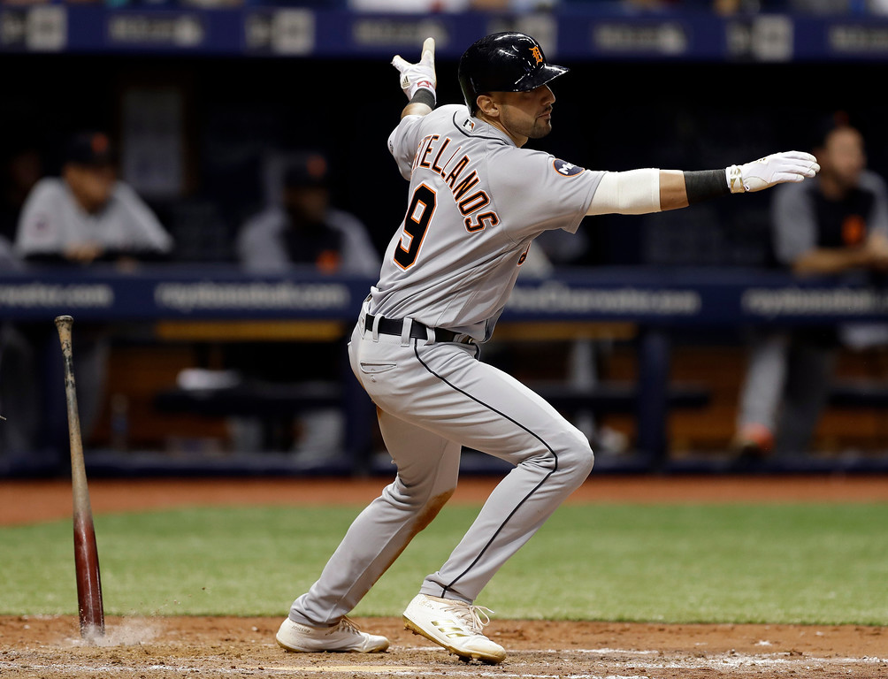 . Detroit Tigers\' Nicholas Castellanos reacts as he watches his three-run triple off Tampa Bay Rays relief pitcher Jumbo Diaz during the sixth inning of a baseball game Wednesday, April 19, 2017, in St. Petersburg, Fla. (AP Photo/Chris O\'Meara)