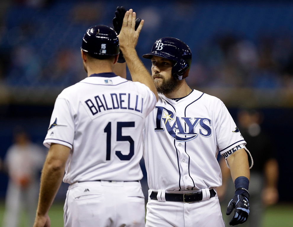 . Tampa Bay Rays\' Steven Souza Jr. high fives first base coach Rocco Baldelli (15) after his RBI single off Detroit Tigers relief pitcher Alex Wilson during the seventh inning of a baseball game Wednesday, April 19, 2017, in St. Petersburg, Fla. (AP Photo/Chris O\'Meara)
