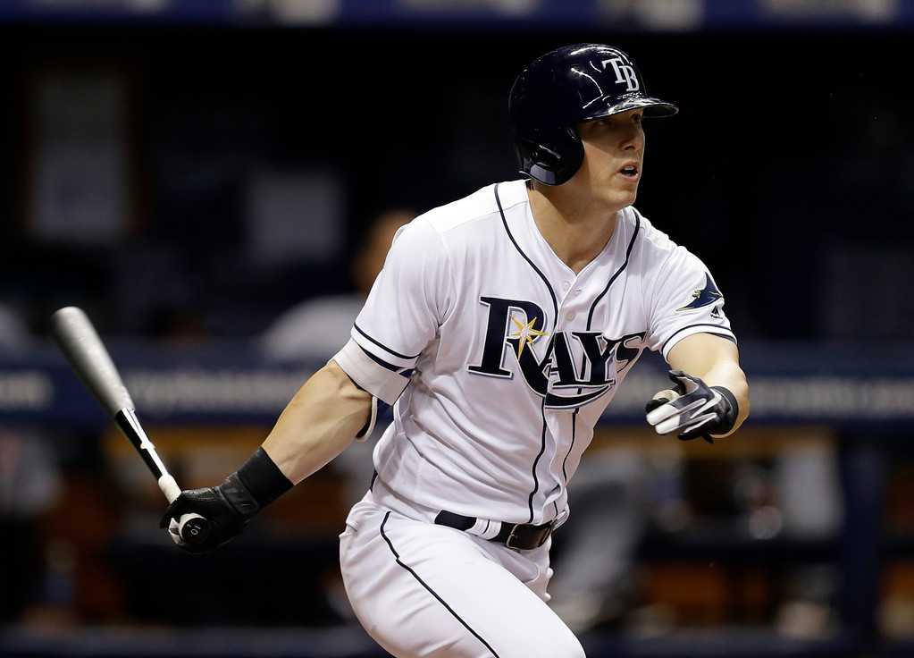 . Tampa Bay Rays\' Corey Dickerson follows his RBI single off Detroit Tigers starting pitcher Jordan Zimmermann during the fourth inning of a baseball game Wednesday, April 19, 2017, in St. Petersburg, Fla. Rays\' Shane Peterson scored. (AP Photo/Chris O\'Meara)