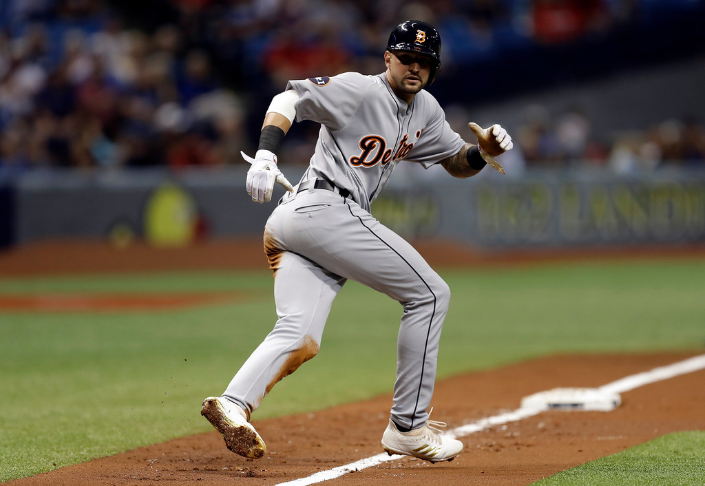 . Detroit Tigers\' Nicholas Castellanos leads off third base after his triple off Tampa Bay Rays starting pitcher Chris Archer during the first inning of a baseball game Wednesday, April 19, 2017, in St. Petersburg, Fla. (AP Photo/Chris O\'Meara)