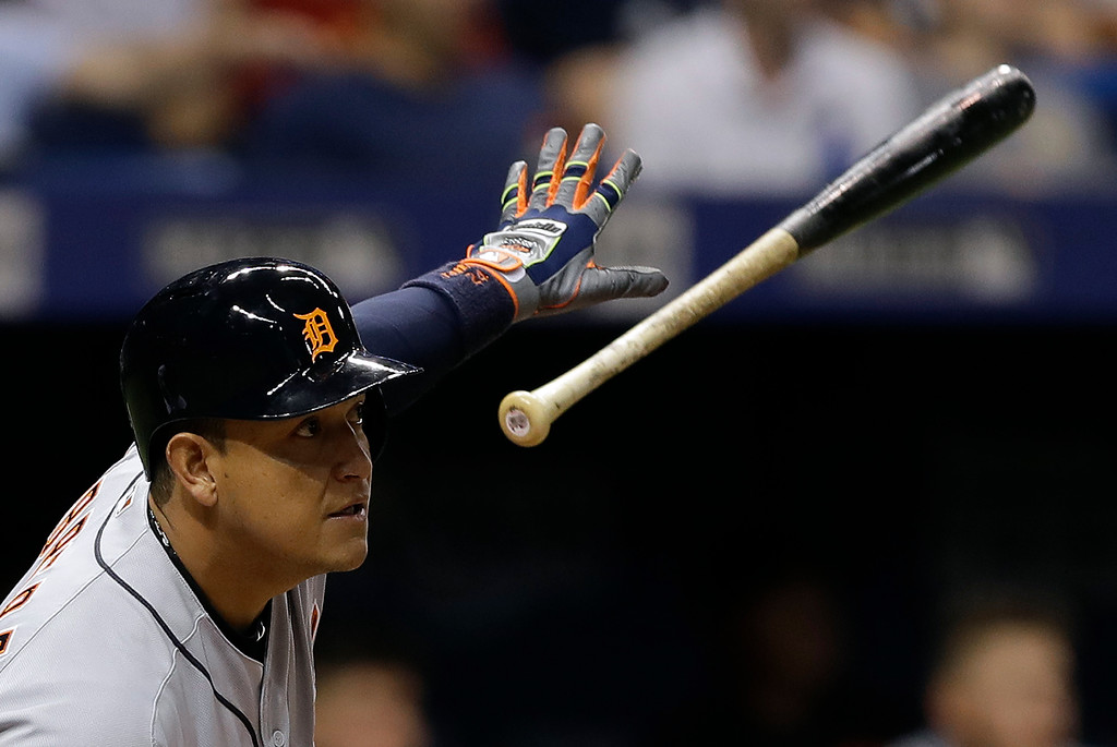 . Detroit Tigers\' Miguel Cabrera flips his bat after hitting an RBI double off Tampa Bay Rays starting pitcher Chris Archer during the fifth inning of a baseball game Wednesday, April 19, 2017, in St. Petersburg, Fla. (AP Photo/Chris O\'Meara)