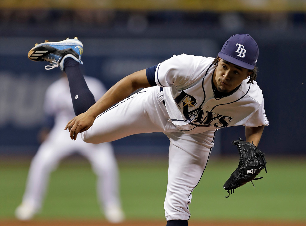 . Tampa Bay Rays\' Chris Archer follows through on a pitch to the Detroit Tigers during the first inning of a baseball game Wednesday, April 19, 2017, in St. Petersburg, Fla. (AP Photo/Chris O\'Meara)