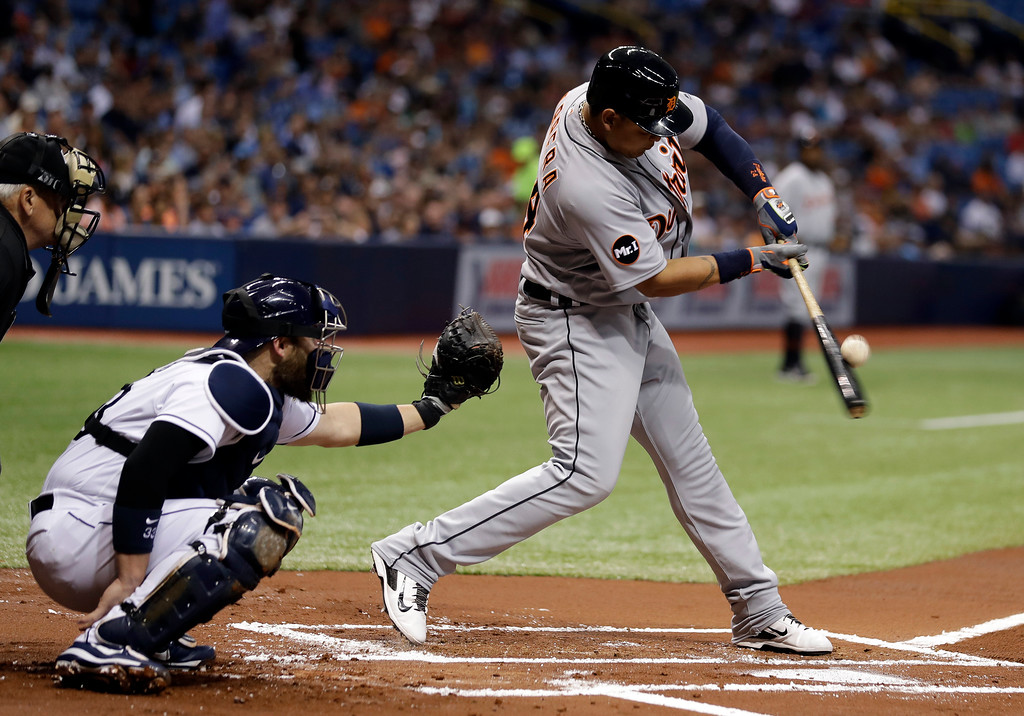 . Detroit Tigers\' Miguel Cabrera fouls off a pitch in front of Tampa Bay Rays catcher Derek Norris during the first inning of a baseball game Wednesday, April 19, 2017, in St. Petersburg, Fla. (AP Photo/Chris O\'Meara)
