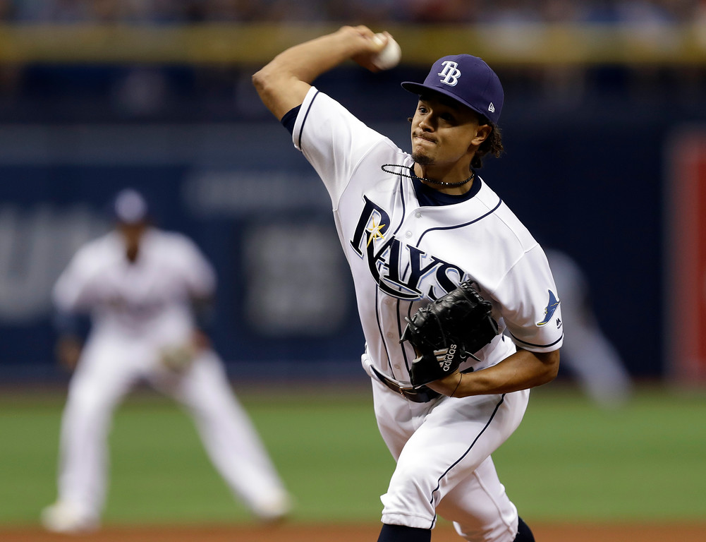 . Tampa Bay Rays starting pitcher Chris Archer during the first inning of a baseball game against the Detroit Tigers Wednesday, April 19, 2017, in St. Petersburg, Fla. (AP Photo/Chris O\'Meara)